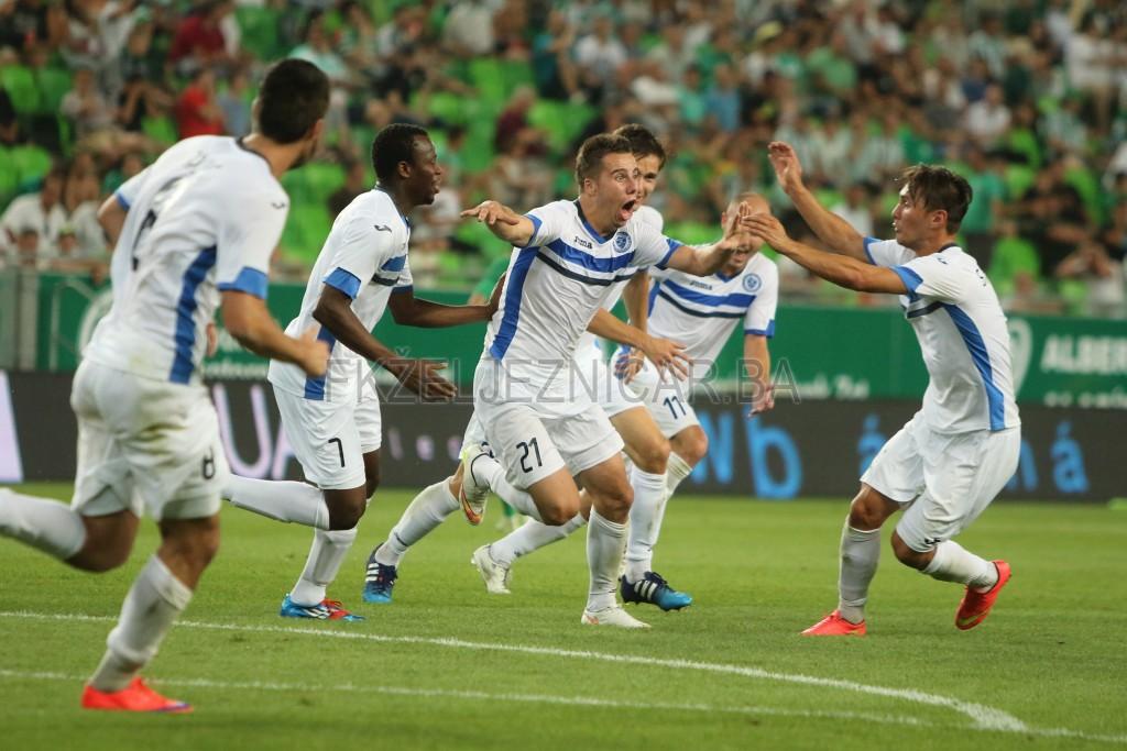 Slavlje pogotka Dženisa Beganovića u 90. minuti susreta za pobjedu od 1:0 protiv Ferencvarosa.  Foto: Damir Hajdarbašić, fkzeljeznicar.ba