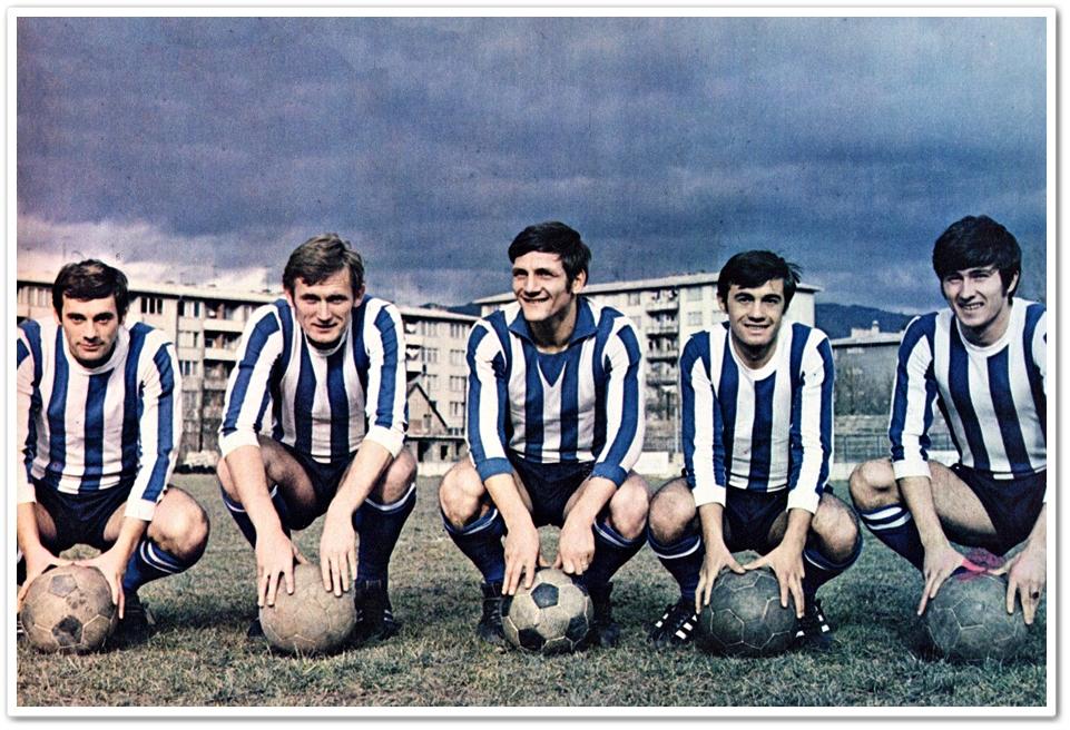 """Željina """"atomska navala"""": Jelušić, Osim, Bukal, Bajić, Mujkić (1970)"""